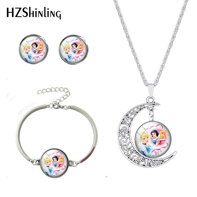 Fashion Princess Cartoon Movie Princess Snow White Sleeping Beauty Moon Necklace Bracelet Earrings Hand Craft Silver Jewelry Set