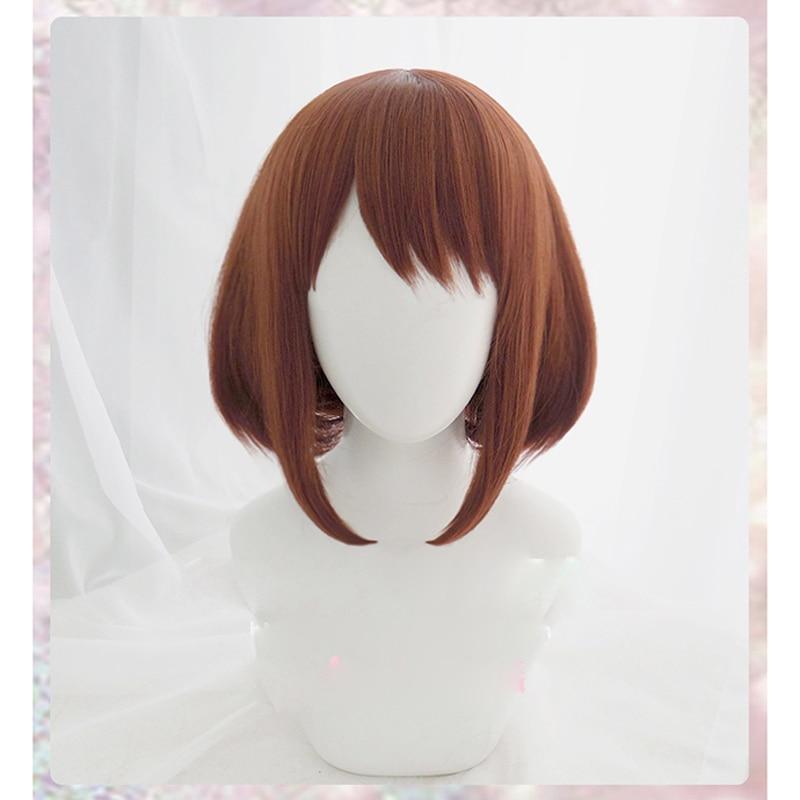 Anime My Hero Academia Ochako Uraraka Short Brown Bob Heat Resistant Cosplay Costume Wig + Wig Cap+Keychain