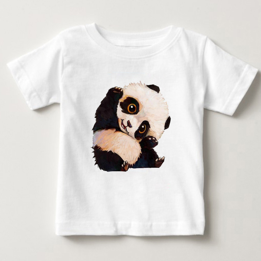 100% Pure Cotton T-Shirt Summer 2018 Fashion Round T Shirt Adorable Panda TShirt girl Short sleeve shirt kids tshirt MJ