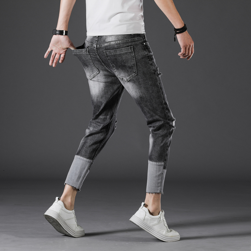 Men Jeans Skinny Japan Style Stretch Ripped Hollow Out Patched Cropped Leisure Pants Hip Hop Male