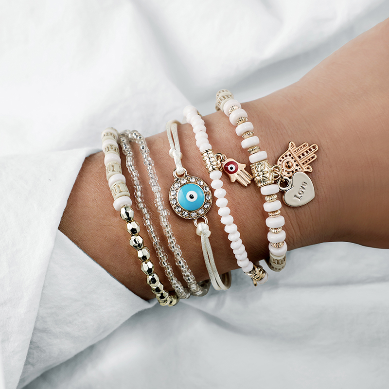 Tocona Ethnic Hand Heart Eye Adjustable Pendant Layered Bracelets Set for Women Beads String Bracelet Bangle Anklets 6949