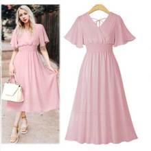 liva girl 2019 V Neck Chiffon pink Dress Summer Women Medium Long Slim Retro Dress Lotus Leaf Beach Dress black white dress