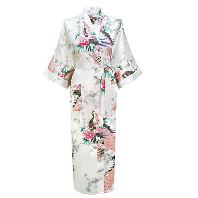 Branco Chinês Fêmea Sexy Com Decote Em V de Banho Rayon de Seda Pijamas Vestes Compridas S02O Floral Plus Size S A XXXL
