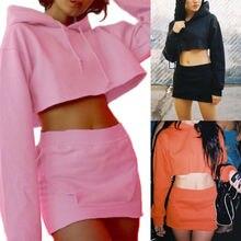 2PCS Women Ladies Hoodie Long Sleeve Hooded Crop Tops Pocket Pencil skirt dress Cotton set Black