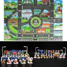 83 * см 58 см детские игрушки городской Автостоянка Дорожная карта DIY 28 шт. дорожные знаки модель автомобиля восхождение игровые маты английская версия подарок для ребенка