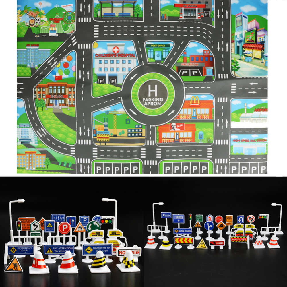 83*58CM Kids Toys City Parking Lot Roadmap Map DIY 28 Pcs Road Signs Car Model Climbing Mats Toys English Version Gift for Child