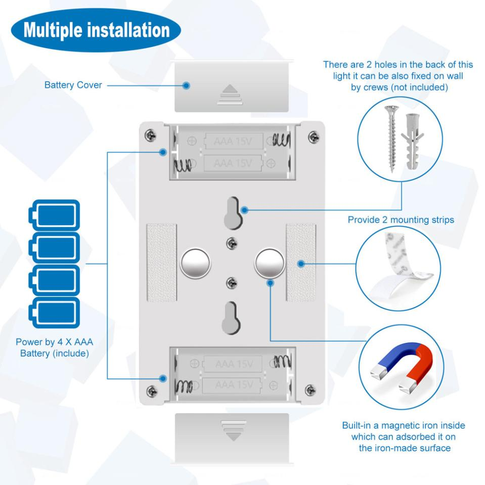 medium resolution of 2018 muqgew aaa batteries led night light kasonic 200 lumen cordless cob led light switch battery include for standard look in led indoor wall lamps from