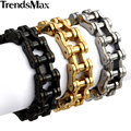 Trendsmax 14/19/23MM Mens Sport Wristband Boys Multi Colors 316L Stainless Steel Biker Motorcycle Bracelet HBM13