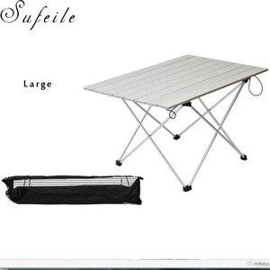 Image 4 - SUFEILE 屋外キャンプポータブル折りたたみテーブルアルミ超軽量ポータブルコンピュータデスクバーベキュー振り子レジャーテーブル D50