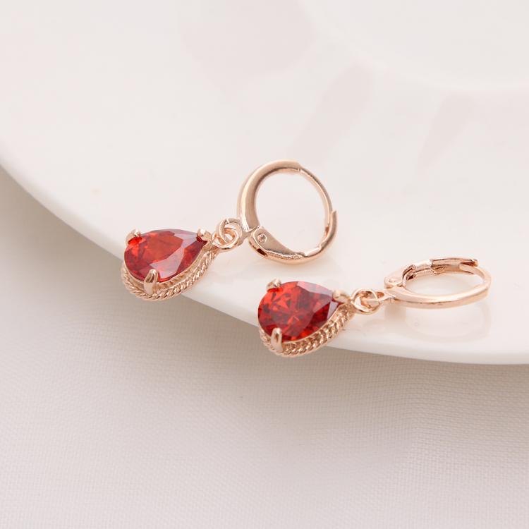 Gold Color Earrings Green Water Drop CZ Stone Pierced Dangle Earrings Women/Girls Long Drop Earrings fashion jewelry 17