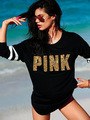 2017 Spring Women Sexy Casual Hoody Pullover Long Sleeve Hoodies Golden PINK Printed VS Sweatshirts Ladies Leisure Tops Blusas