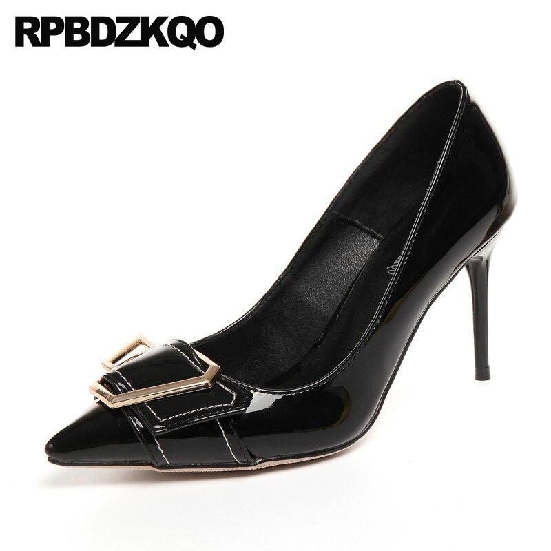 Talons hauts en cuir verni grande taille escarpins vert Stiletto 4 34 33 Top qualité métal noir bout pointu Designer marque chaussures femmes
