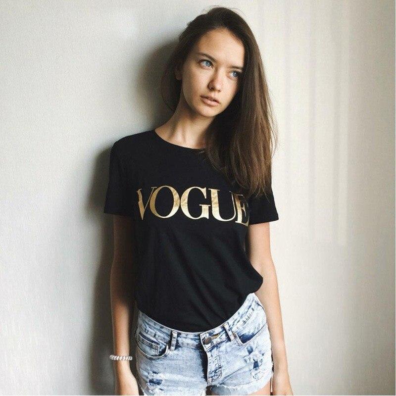 Europa marca de moda Glod brillante VOGUE carta camiseta mujer Simple cuello redondo manga corta Mujer Tops 5 colores oferta impresión