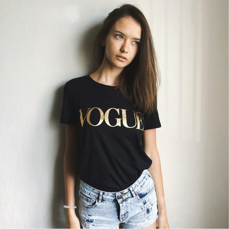 Europe Fashion Brand Glod Shining VOGUE Letter T-shirt Women Simple O-Neck Short Sleeve Femme Tops 5 Colors Hot Sale Print