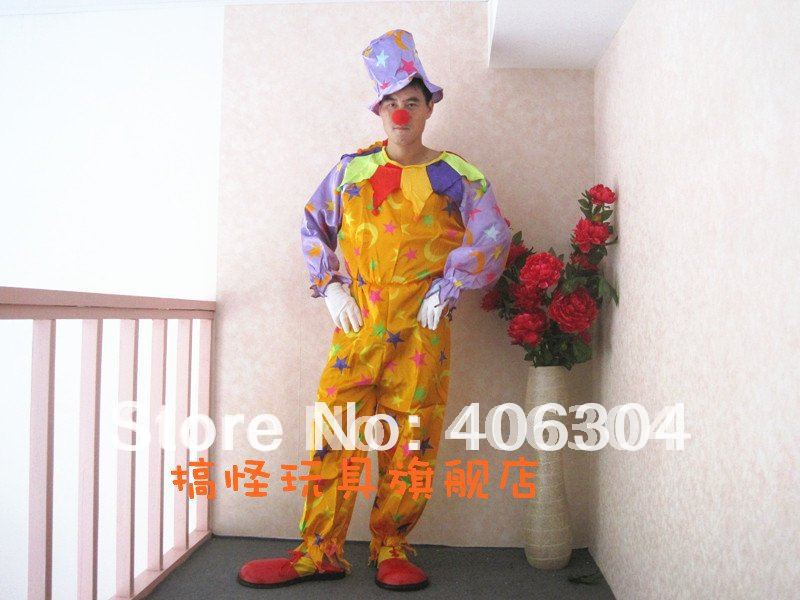 Free shipping ,adult Clown Costume suit +hat +nose/Joker Costume/Clown cosplay clothing/halloween party costume