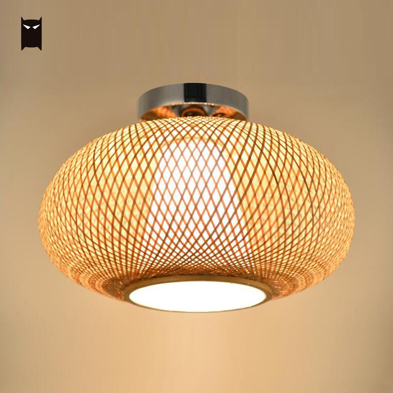 new products 165af 1375b US $112.0 |Bamboo Wicker Rattan Shade Flush Mount Ceiling Light Fixture  Japanese Asian Rustic Plafon Lamp Bedroom Kitchen Hallway Balcony-in  Ceiling ...