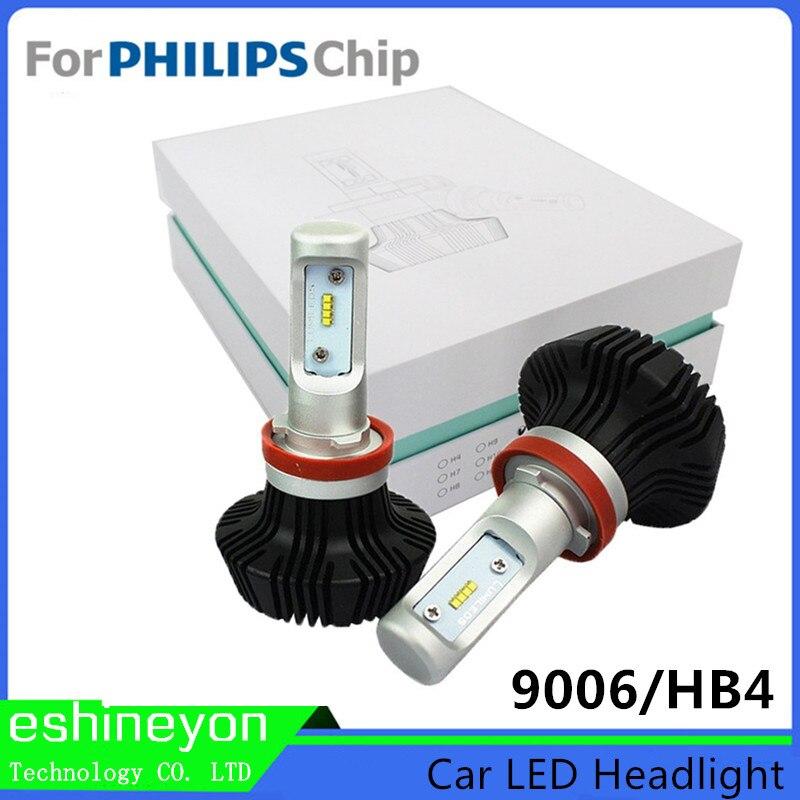 ФОТО 60W 8000LM Car LED Headlights Conversion Kits 9006/HB4 For Philips-ZES Chips Headlamp Running Lights White 6000K Fog Light Bulbs