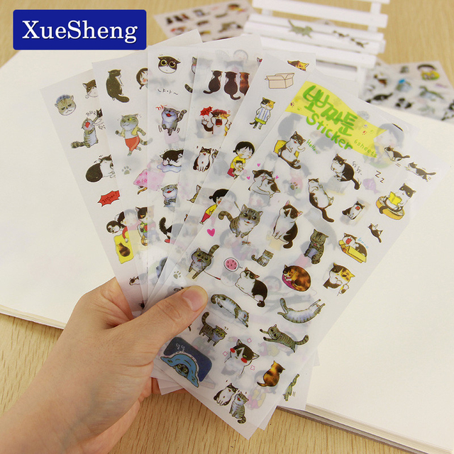 6 Pçs/set Coréia Criativo PVC Bonito Gatos Livro Calendário Diário Adesivo Recados Decoração Transparente Papelaria