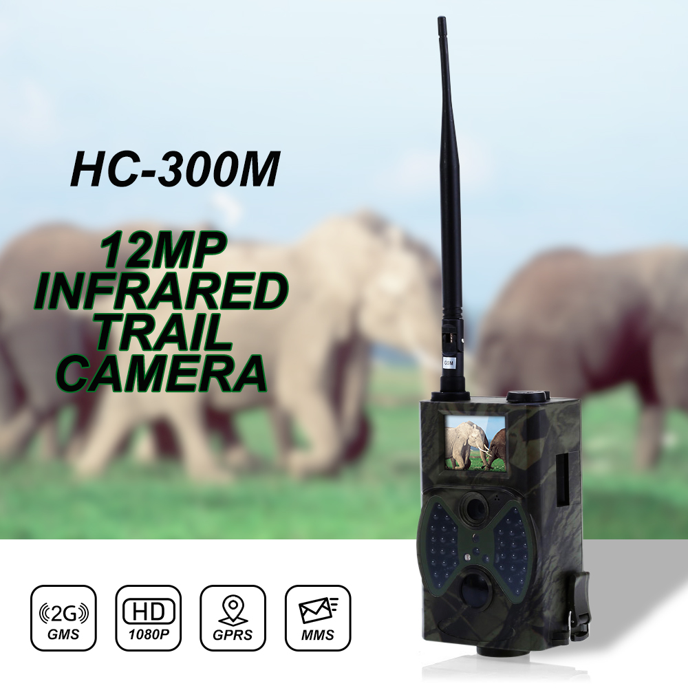 Trail Camera MMS GSM Camera HC300M 2G GSM GPRS SMS Security Hidden Camera Wireless 940NM Black Invisible Vision Hunting Camera цена