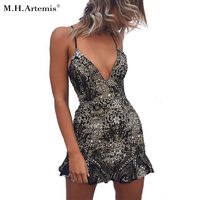 M H Artemis Sexy Sequined BlingBling Dress Deep V Neck Lace Up Backless Elegant Club Party