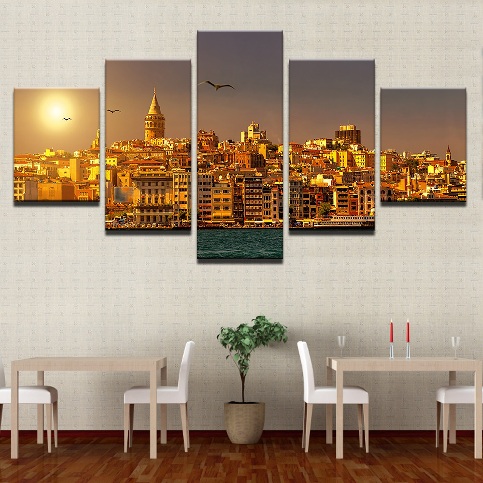Canvas Painting Living Room Wall Poster 5 Panel Istanbul Turkey Frames In Modular Print Cuadros Decoration Sun Sunrises Pictures Calligraphy