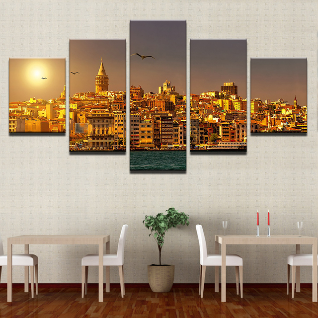 Frames For Living Room Walls Colorful Rugs Canvas Painting Wall Poster 5 Panel Istanbul Turkey In Modular Print Cuadros Decoration Sun Sunrises Pictures