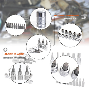 Image 4 - 34PCS Chrome Vanadium Steel Pressure Batch Sleeve Group Sets SleeveHead Machine Motor Socket Set Wrench Female Torx Male