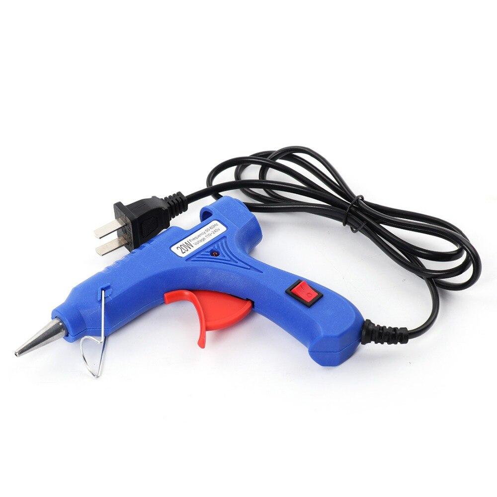 High Temp Heater Melt Hot Glue Gun 20W Repair Tool Heat Gun Blue Mini Gun US/EU Plug Hot Melt Glue Gun Sticks 100-240V P20