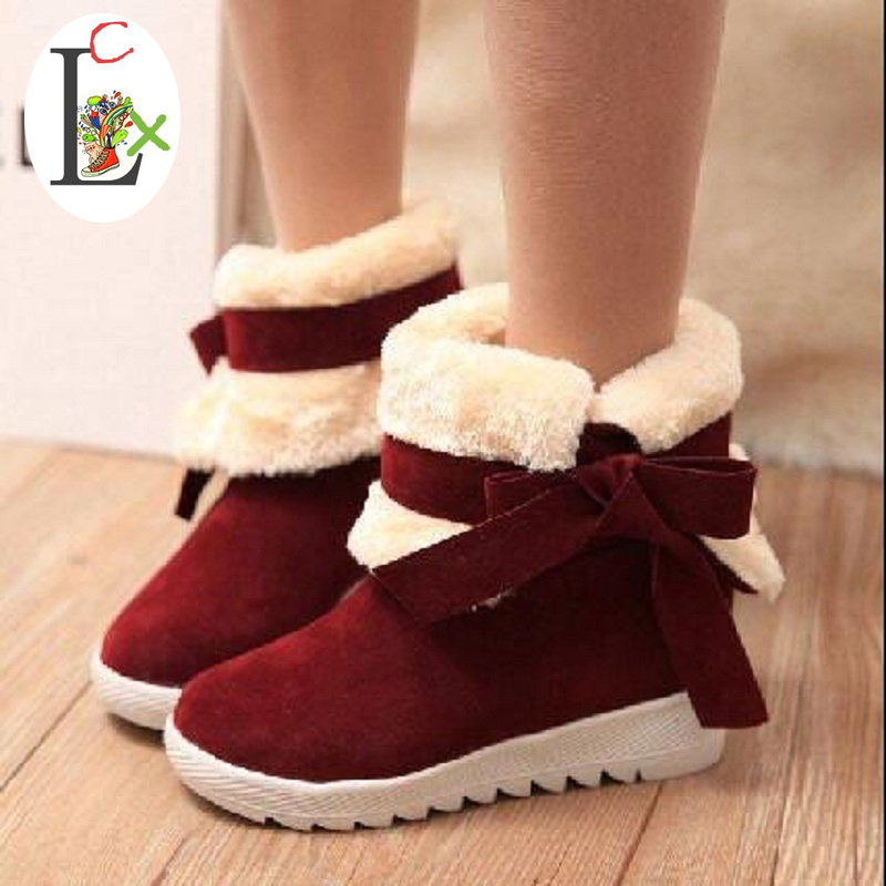 LCX winter women boots thick velvet bow two ways cotton-padded shoes slip-resistant elevator snow boot female free shipping халатик mia mia lady in red красный l xl