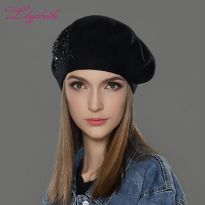 Image 5 - LILIYABAIHE New Women Winter Hat wool Knitted Berets Cap with flower Sequins diamond decoration solid colors fashion lady hat