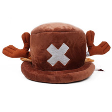 free shipping 100PCSLOT Cartoon Animal hats One Piece Chopper plush cosplay hat after red color Plush Soft caps Earmuff