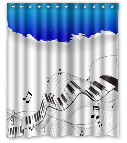 Free Shipping Music Note Custom Shower Curtain Home Decor Bathroom Waterproof Fabric Fashion Bath SCN 043 In Curtains From Garden On