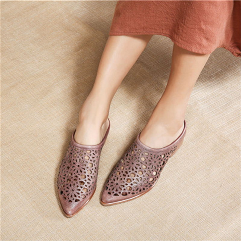 Tyawkiho Genuine Leather Slippers Hollow Out 2018 Summer Shoes Slip On Retro 3 CM High Heels Handmade Women Leather Slippers tyawkiho genuine leather women slippers flower summer shoes 6 cm high heels red hollow out slippers retro handmade women shoes