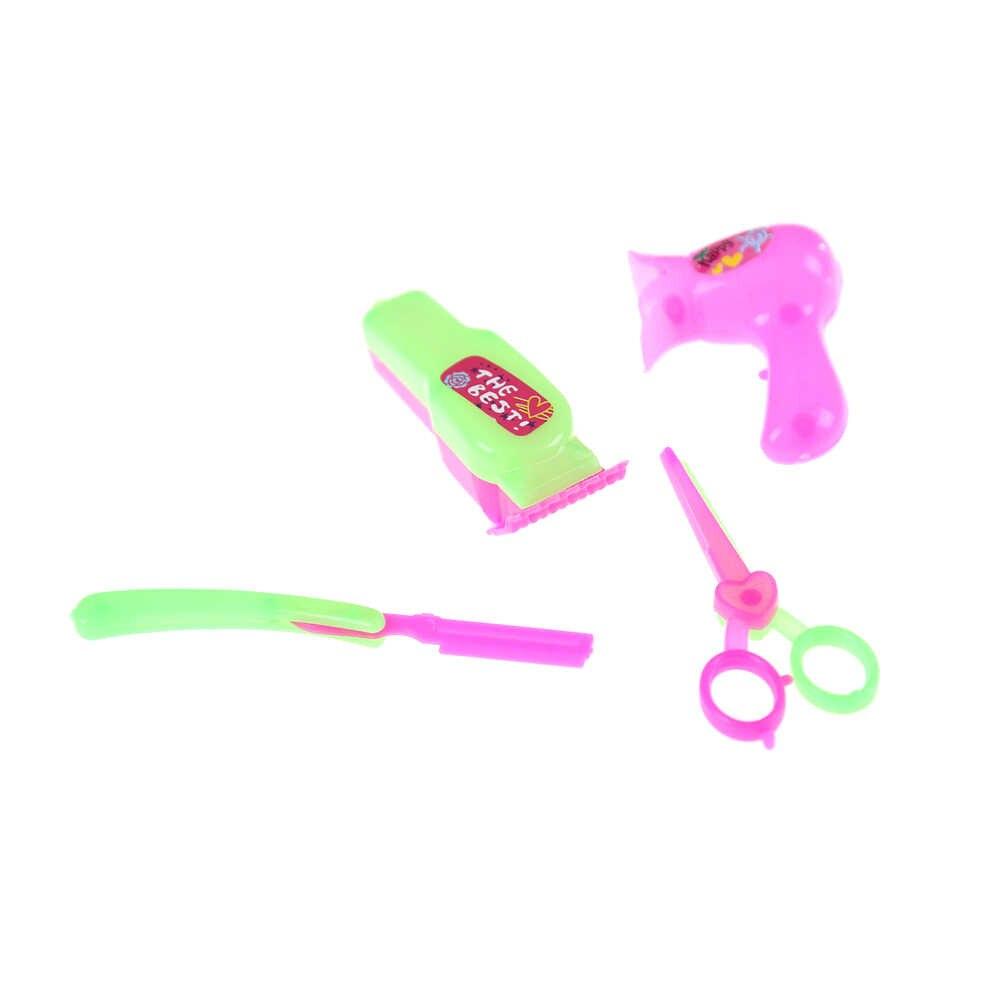4 pçs/lote salões de cuidados com o cabelo sobrancelha navalha secador de cabelo tesoura ferramentas para s boneca brinquedos bonecas acessórios
