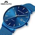 MEGALITH модные повседневные часы для мужчин, тонкие сетчатые стальные спортивные часы, водонепроницаемые кварцевые часы с хронографом, Relogio ...