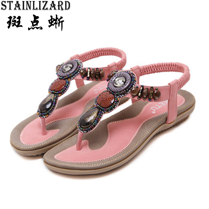 Free Shipping 2017 Women Sandals Bohemia Beads Summer Sandals Fashion Flat Women Shoes Wild Casual Shoes Beach Flip Flops DAT01 siketu 2017 new summer beach slipper flip flops sandals women mixed color casual sandals shoes flat free shipping plus size
