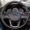 Caso para KIA K2 tampa da roda de direcção Do Carro Do couro Genuíno tampa Do estilo Do Carro DIY Acessórios interior