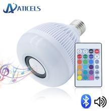 Smart E27 Bluetooth Speaker LED Bulb RGBW 12W with 24 Keys Remote Control Music Playing Wireless RGB LED Lamp AC100-240V