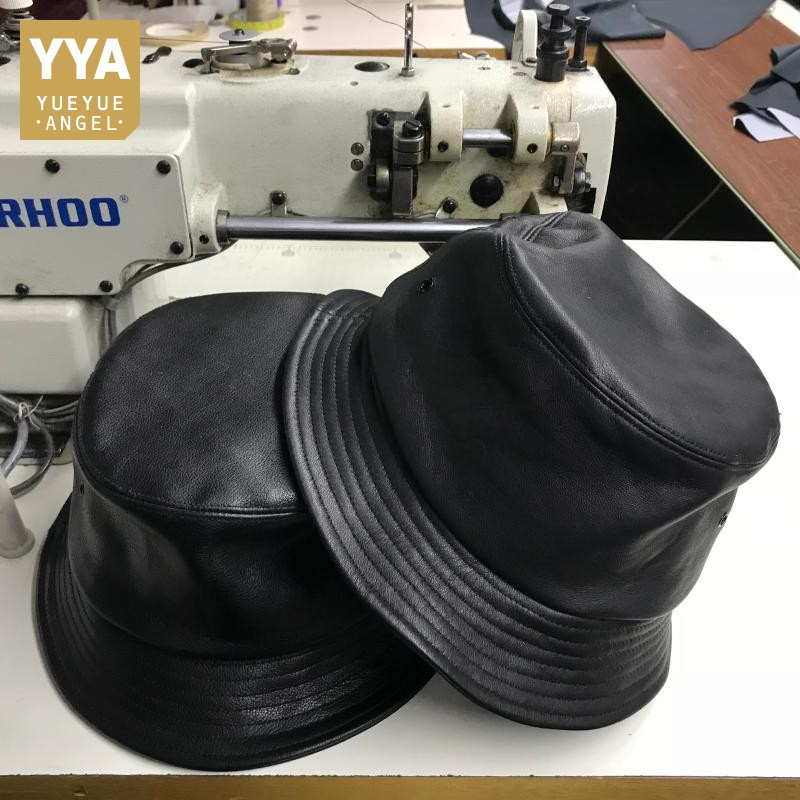 Fashion Unisex Genuine Leather Bucket Hat Women Outdoor Sunscreen Fishing Cap Men Basin Chapeau Sun Prevent Hats Beanie Gorros