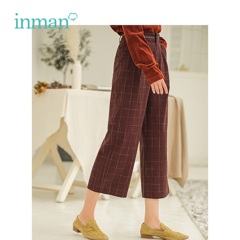 INMAN Autumn New Arrival Female High Waist Retro Literary Loose Plaid Straight Pants