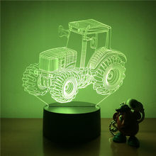 3D LED Malam Lampu Besar Ban Traktor Pertanian Action Figure 7 Warna Touch Optical Illusion Lampu Meja Dekorasi Rumah Model(China)