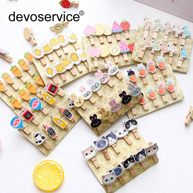 10Pcs/Lot Colored Mini Wooden Clips Office Supplies Cartoon Craft Memo Clip DIY Paper Photo Decoration With 1M Hemp Rope Gift