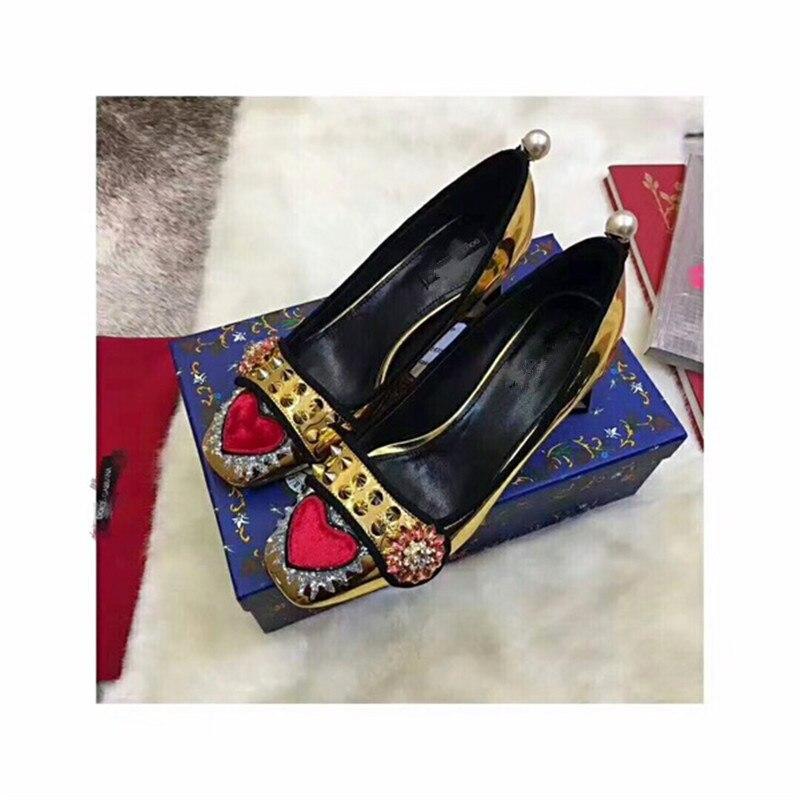 Adornado Heels Primavera De Toe 2018 Remaches Mujer Caliente Zapatos Verano Superficial Pic Cristal Charol Med As Nueva Square Bombas B6vqqxf
