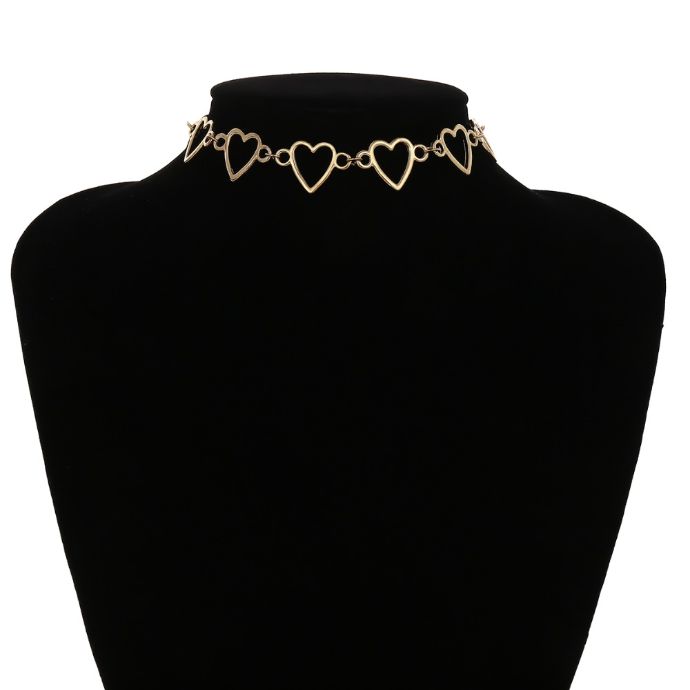 Ingemark Korean Sweet Love Heart Choker Necklace Statement Girlfriend Gift Cute Gold Silver Necklace Jewelry Collier