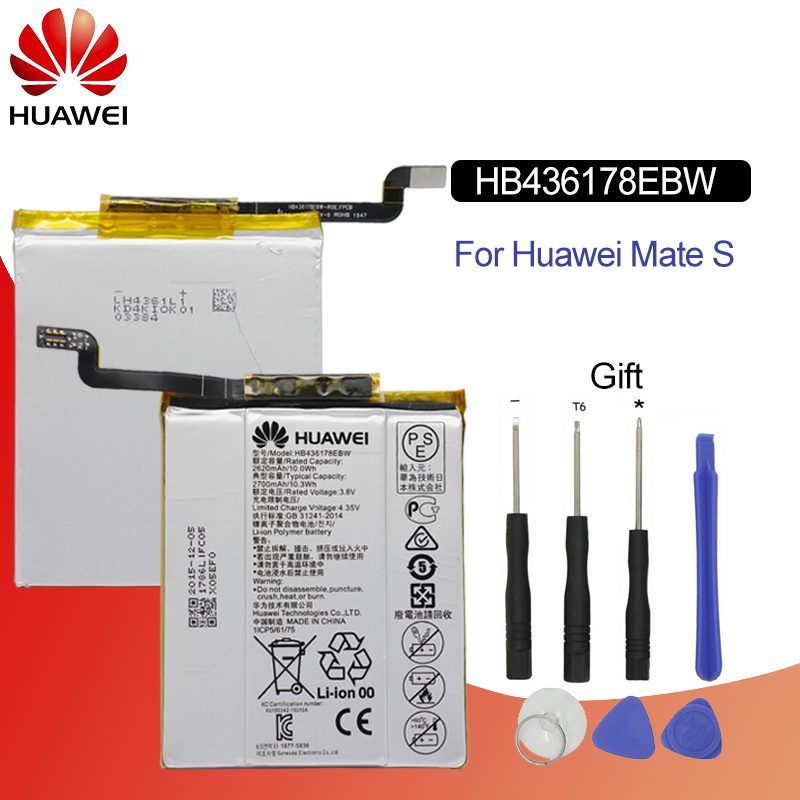 Hua Wei Original Phone Battery HB436178EBW For Huawei Mate S CRR CL00 UL00 2700mah Replacement Phone Batteries Free Tools