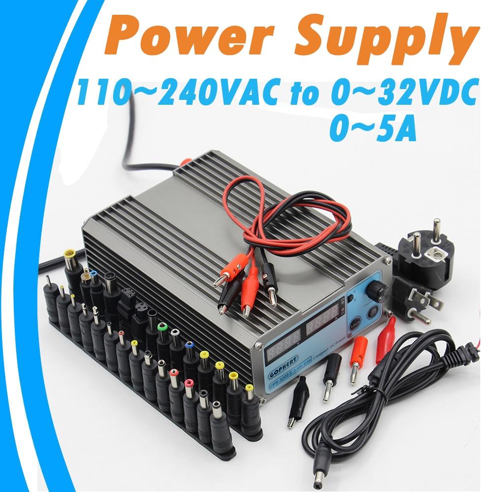 Digital Mini Laboratory DC Power Supply 110 240VAC Input Adjustable 0 32VDC Max 5A Output 0.01V 0.001AAccuracy Voltage Regulator