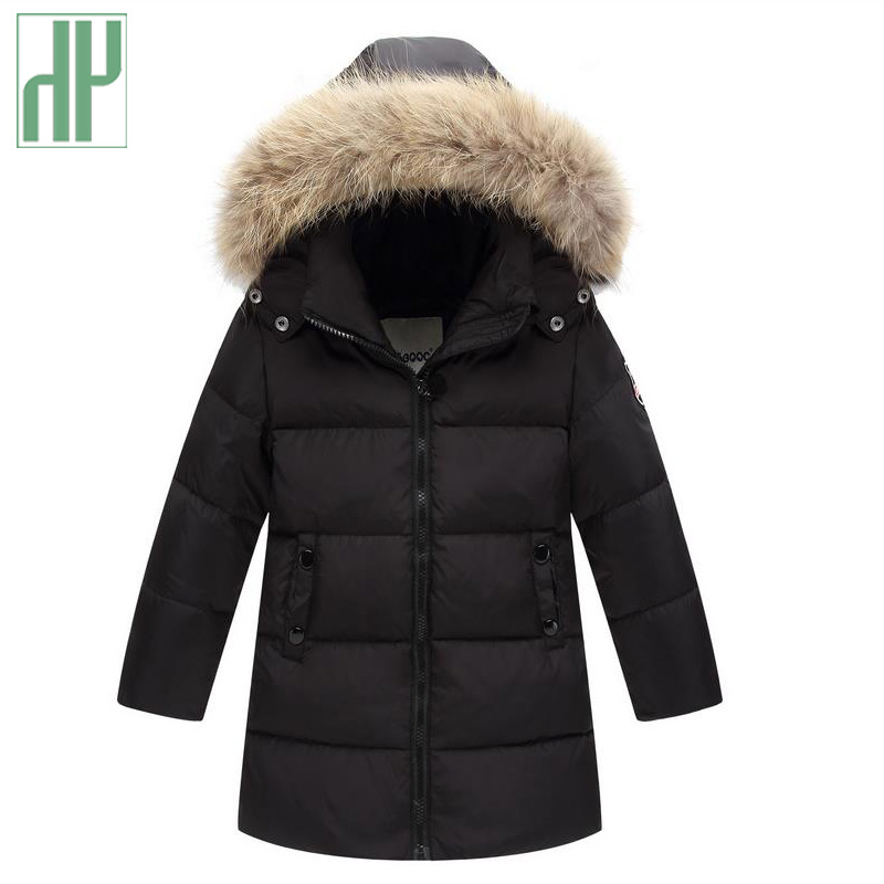 Girls winter coat Arrivals Fur Hooded Thick Warm 90% down Children's Parkas Jackets kids baby boy long coat Outwear 2 4 8 9Years 2017 kids jacket winter for girl and coats duck down girls fluffy fur hooded jackets waterproof outwear parkas coat windproof