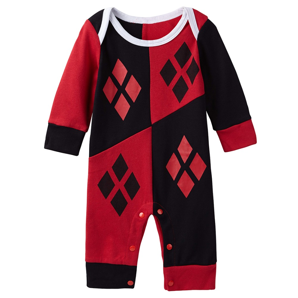 e12a22379 Baby Girls Harley Quinn Deadpool Costume Rompers Infant Jumpsuit ...