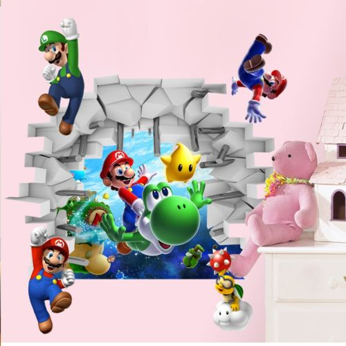 Kids Super Mario Bros 3D View Art Wall Stickers Decals Mural Home Nursery Decor