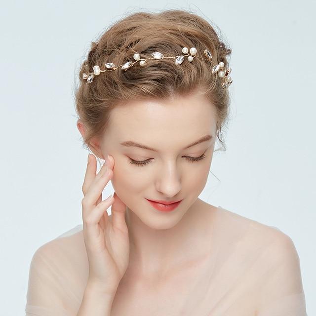 Dower me Simple Crystal Hair Vine Bridal Headband Tiara Pearl Wedding  Accessories Hair Jewelry Bridesmaid Headpiece 7c41ebb4dda6
